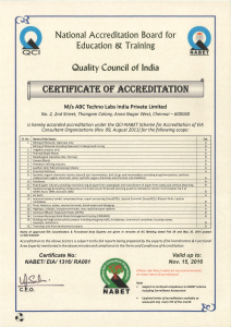 NABET accredited consultant in India